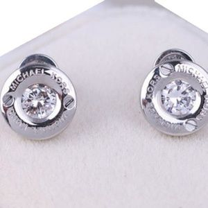 Michael Kors Jewelry - Signed Michael Kors Silver Crystal Pave Earrings
